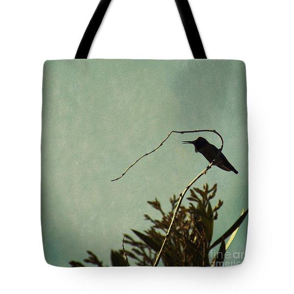Hummingbird On Winter Wisteria Tote Bag