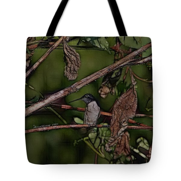 Tote Bag featuring the photograph Hummingbird Waiting For Dinner by EricaMaxine  Price
