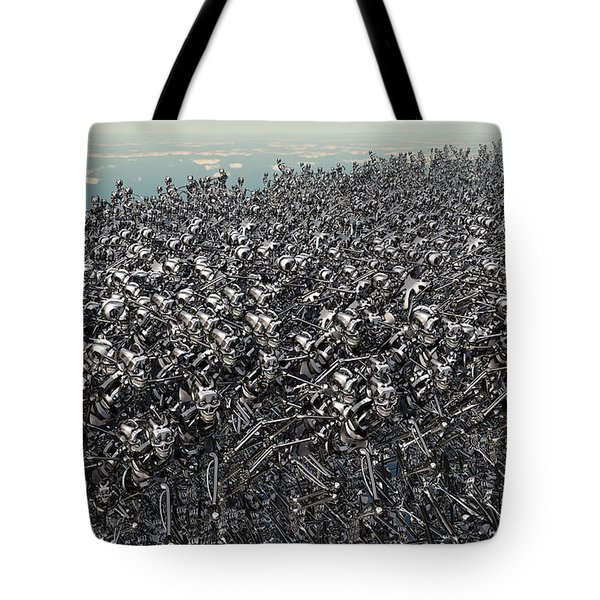 Hundreds Of Robots Running Wild Tote Bag by Mark Stevenson