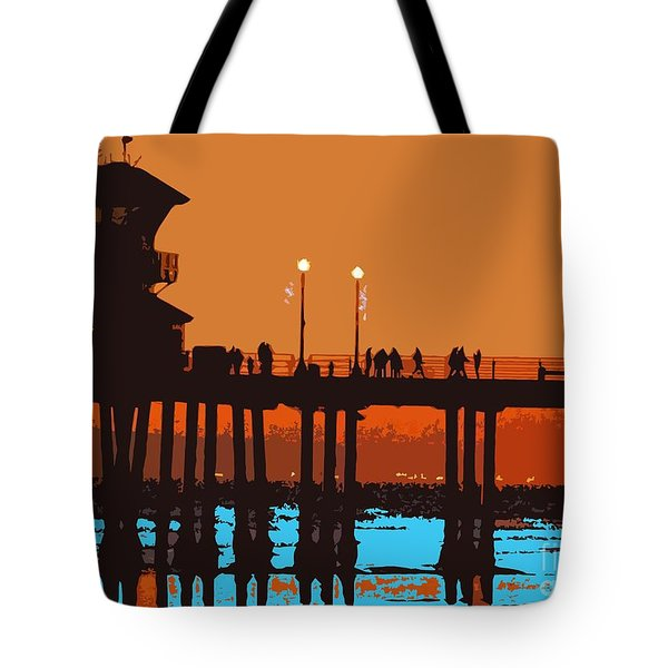 Huntington Pier Abstract Tote Bag