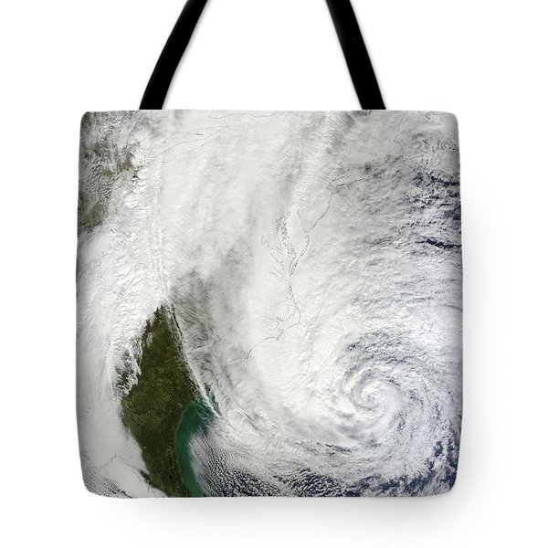 Hurricane Sandy Off The Southeastern Tote Bag by Stocktrek Images