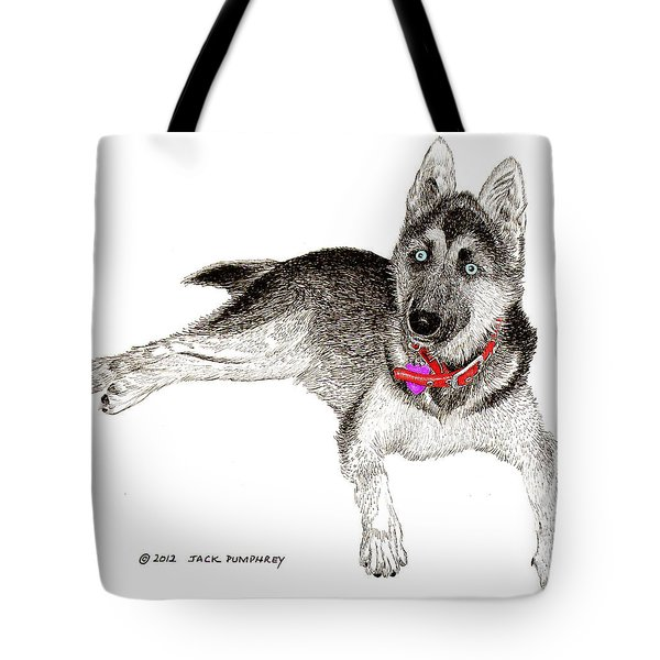 Husky With Blue Eyes And Red Collar Tote Bag by Jack Pumphrey