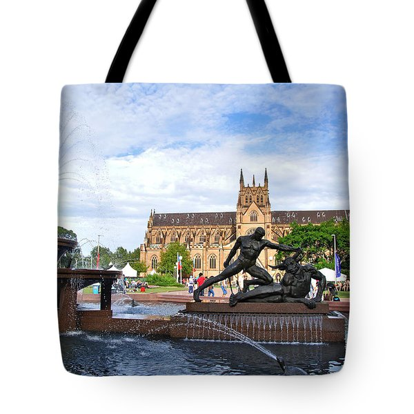 Hyde Park Fountain And St. Mary's Cathedral Tote Bag by Kaye Menner
