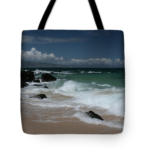 i miha kai i ka aina Hookipa Beach Maui North Shore Hawaii Tote Bag by Sharon Mau