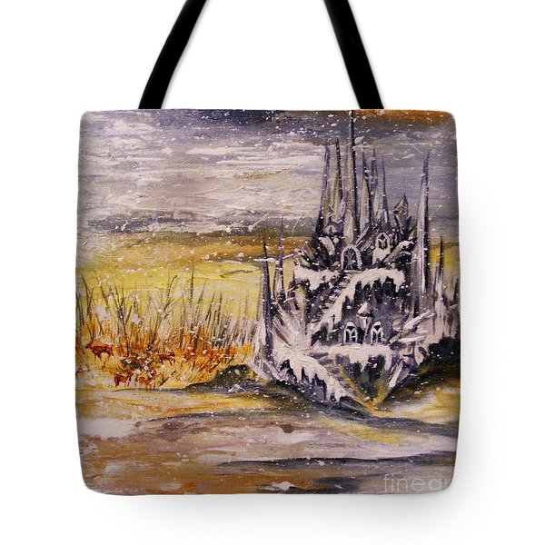 Tote Bag featuring the painting Ice Castle by Karen  Ferrand Carroll