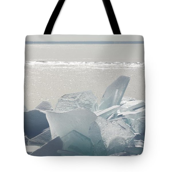 Ice Chunks On The Shores Of Lake Tote Bag by Susan Dykstra