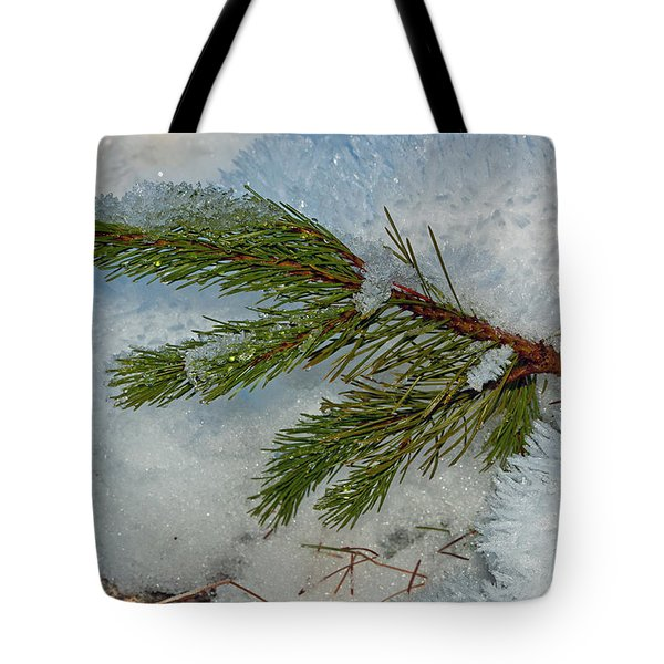 Tote Bag featuring the photograph Ice Crystals And Pine Needles by Tikvah's Hope