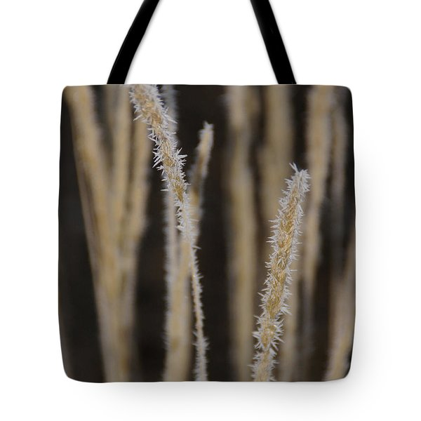 Ice Crystals On Tall Grass Tote Bag by Mick Anderson