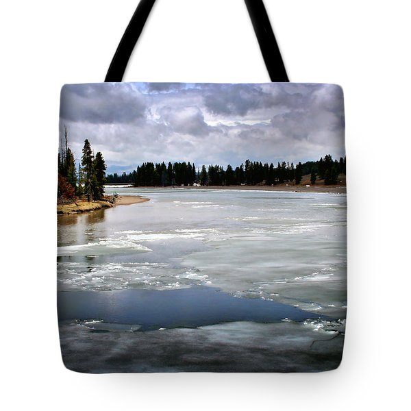 Ice On The Yellowstone River Tote Bag by Ellen Heaverlo
