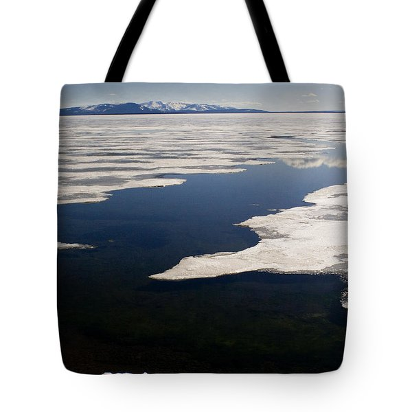 Tote Bag featuring the photograph Ice On Yellowstone Lake by J L Woody Wooden