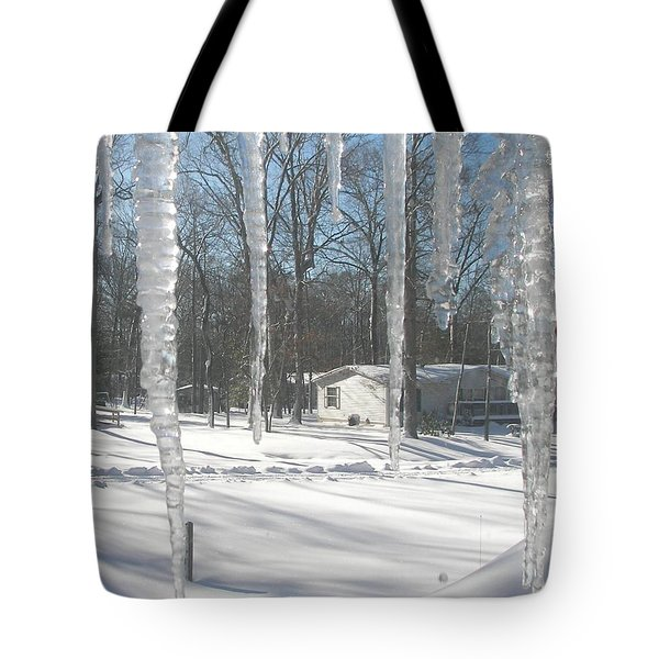 Tote Bag featuring the photograph Icicles Through The Window Glass by Pamela Hyde Wilson