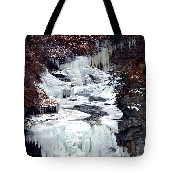 Icy Waterfalls Tote Bag by Paul Ge