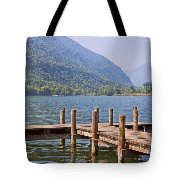 idyllic tarn in Italy Tote Bag