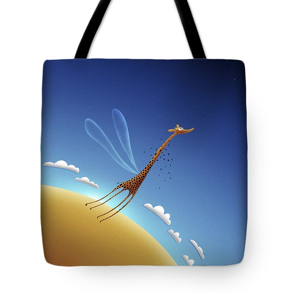 Illustration Of A Giraffe Learning Tote Bag by Vlad Gerasimov