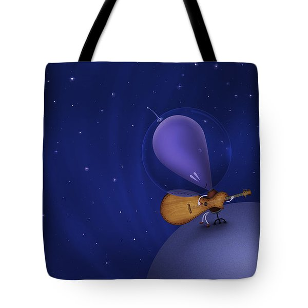 Illustration Of A Martian Playing Tote Bag by Vlad Gerasimov