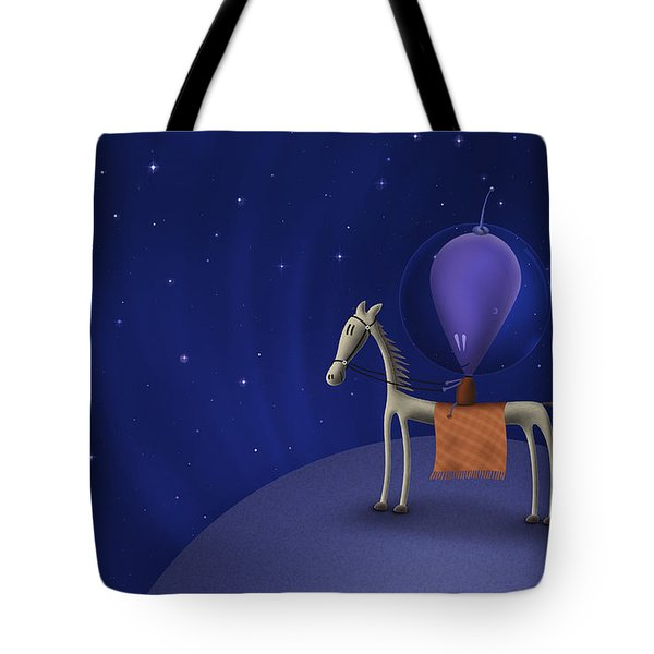 Illustration Of A Martian Riding Tote Bag by Vlad Gerasimov