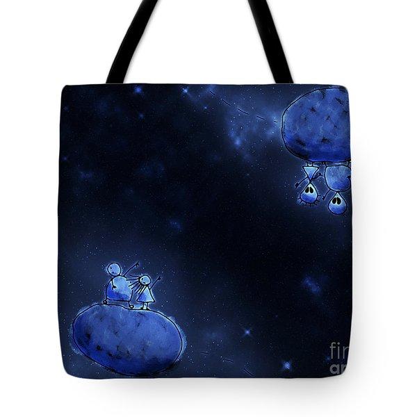 Illustration Of Humans And Aliens Tote Bag by Vlad Gerasimov