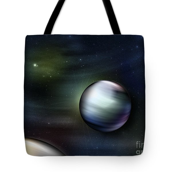 Illustration Of Planets In Outer Space Tote Bag by Vlad Gerasimov