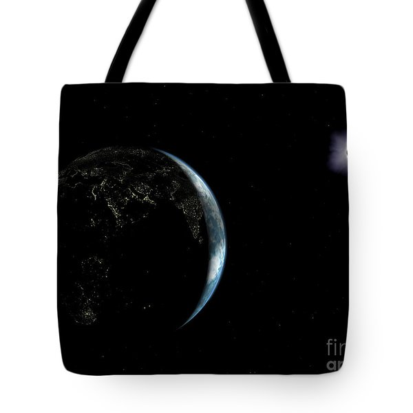 Illustration Of The City Lights Tote Bag by Walter Myers