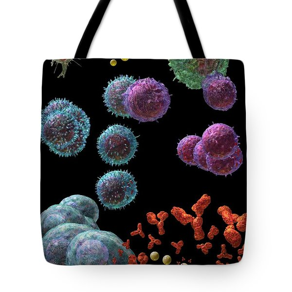 Tote Bag featuring the digital art Immune Response Antibody 5 by Russell Kightley