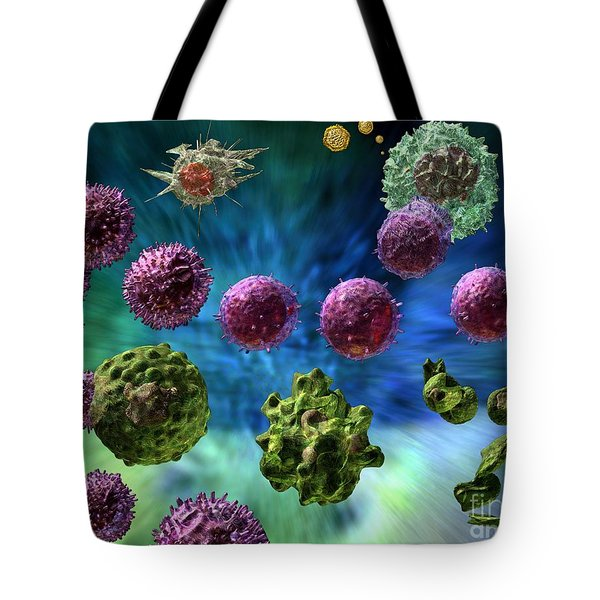 Tote Bag featuring the digital art Immune Response Cytotoxic 1 by Russell Kightley