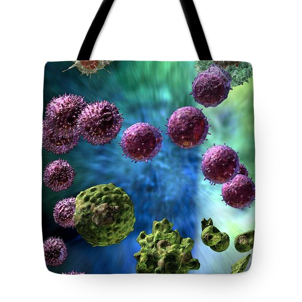 Tote Bag featuring the digital art Immune Response Cytotoxic 3 by Russell Kightley