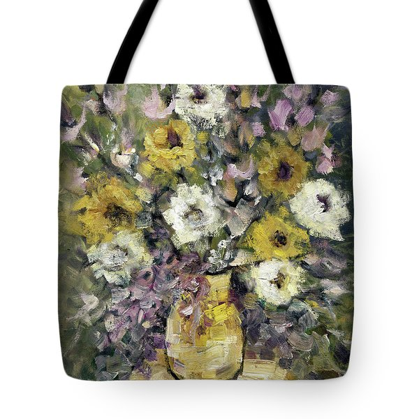 Impression Of Flowers Bouquet Yellow Vase On White Table Purple Flowers Green Background Stained   Tote Bag by Rachel Hershkovitz