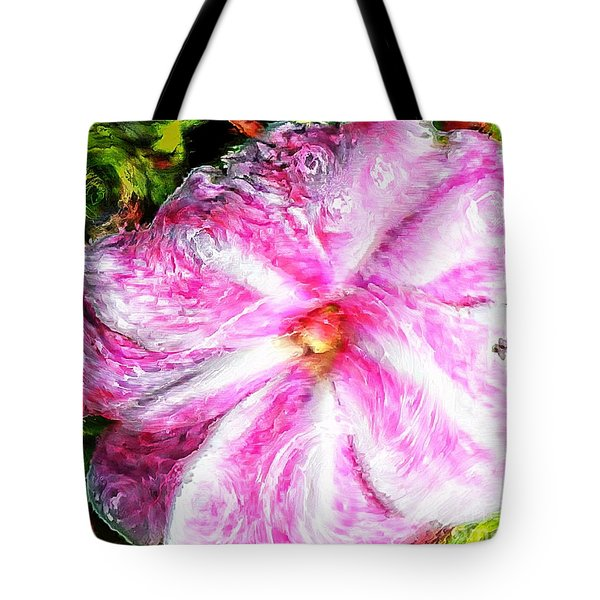 Impressionistic  Candy Cane Impatiens Tote Bag by Barbara Griffin