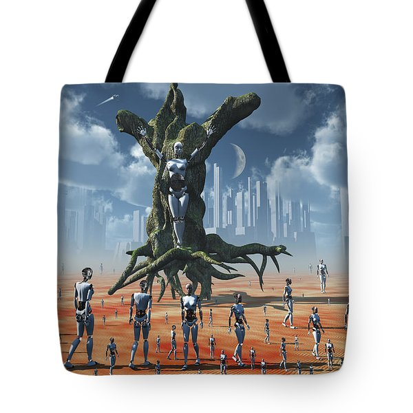 In An Alternate Reality Cyborgs Pay Tote Bag by Mark Stevenson
