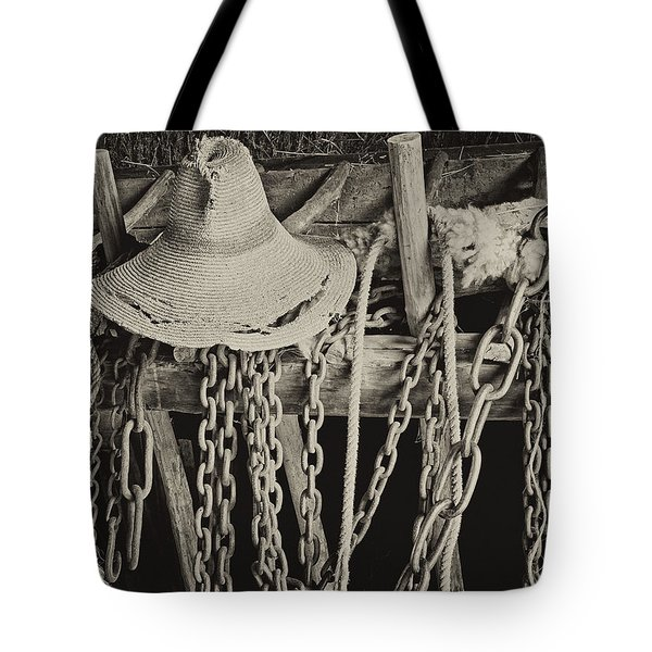 Tote Bag featuring the photograph In The Barn by Nancy De Flon