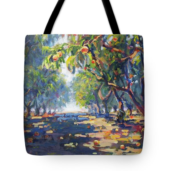In The Peach Orchard Tote Bag by Margaret  Plumb