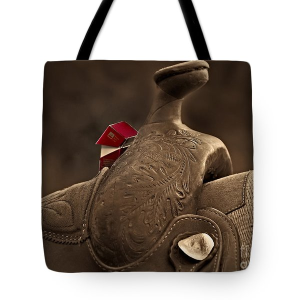 In The Saddle Tote Bag by Susan Candelario