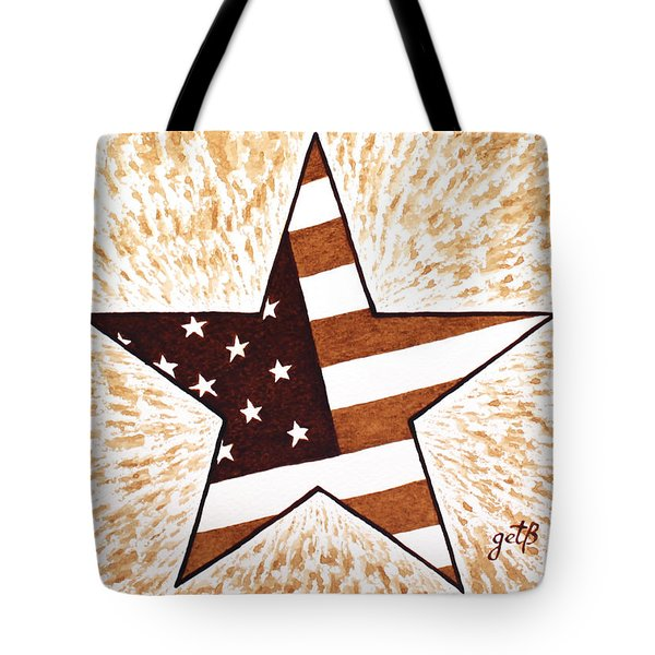 Independence Day Star Usa Flag Coffee Painting Tote Bag by Georgeta  Blanaru