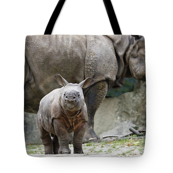 Indian Rhinoceros Rhinoceros Unicornis Tote Bag by Konrad Wothe