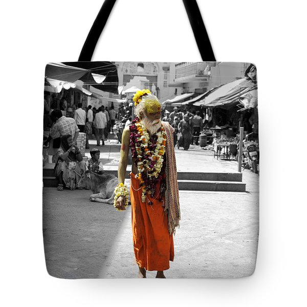 Indian Sadhu At A Religious Spot In India Tote Bag by Sumit Mehndiratta
