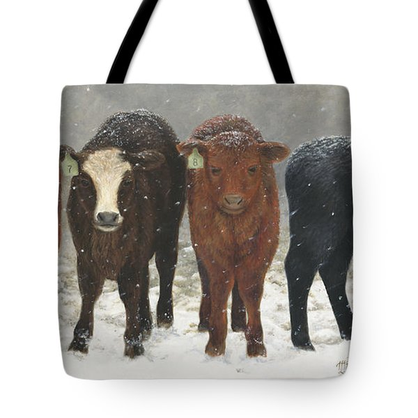 Tote Bag featuring the painting Inquisitive Calves by Tammy Taylor
