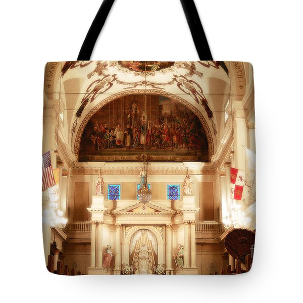 Inside St Louis Cathedral Jackson Square French Quarter New Orleans Diffuse Glow Digital Art Tote Bag by Shawn O'Brien