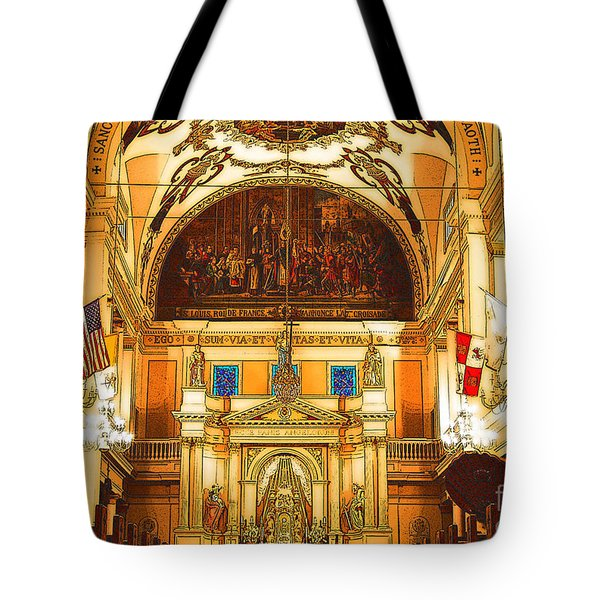 Inside St Louis Cathedral Jackson Square French Quarter New Orleans Digital Art Tote Bag by Shawn O'Brien