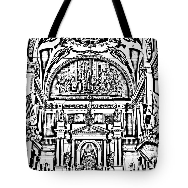 Inside St Louis Cathedral Jackson Square French Quarter New Orleans Photocopy Digital Art Tote Bag by Shawn O'Brien