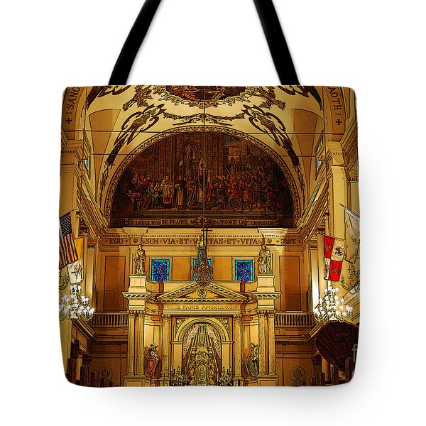 Inside St Louis Cathedral Jackson Square French Quarter New Orleans Poster Edges Digital Art Tote Bag by Shawn O'Brien