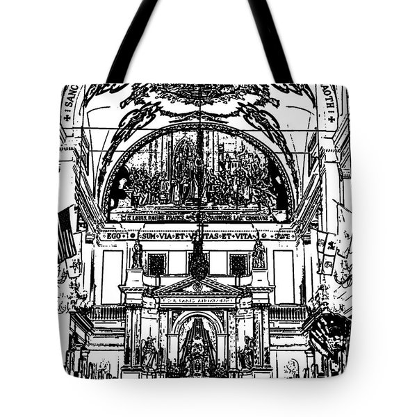 Inside St Louis Cathedral Jackson Square French Quarter New Orleans Stamp Digital Art Tote Bag by Shawn O'Brien