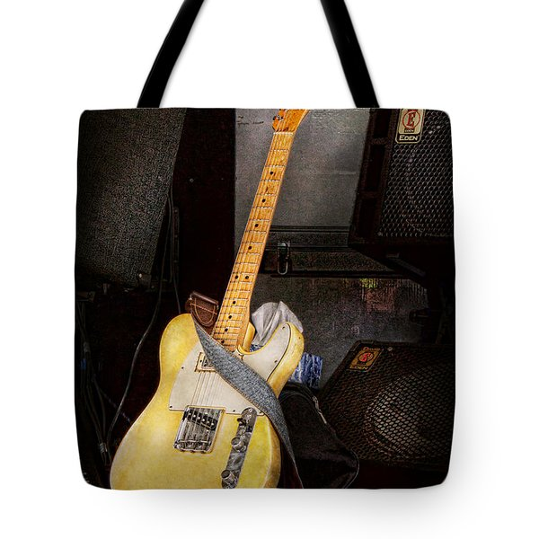 Instrument - Guitar - Playing In A Band Tote Bag by Mike Savad
