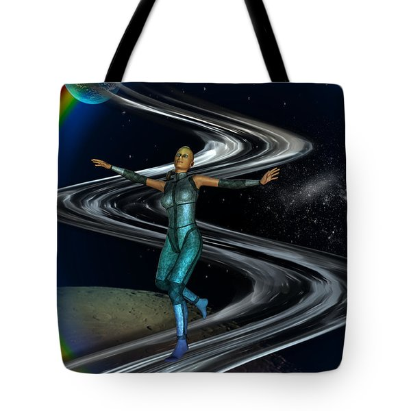 Tote Bag featuring the digital art Interplanetary Glideway by Shadowlea Is