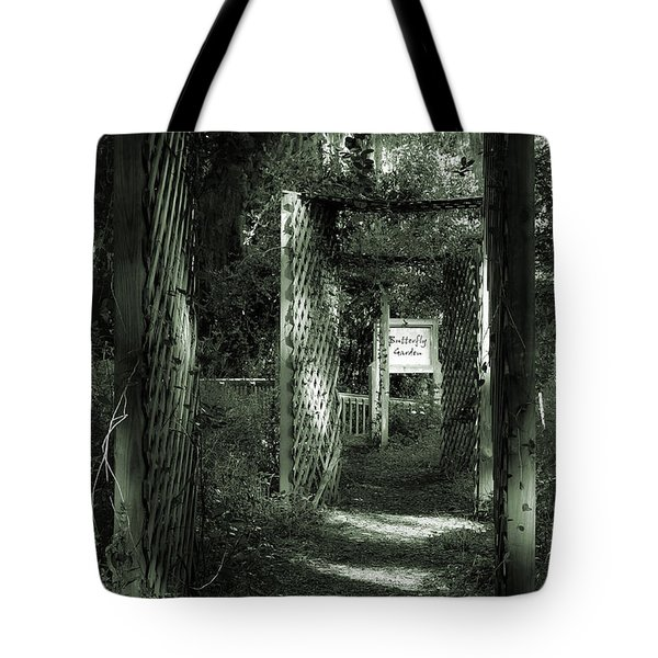 Tote Bag featuring the photograph Into The Butterfly Garden Green by DigiArt Diaries by Vicky B Fuller