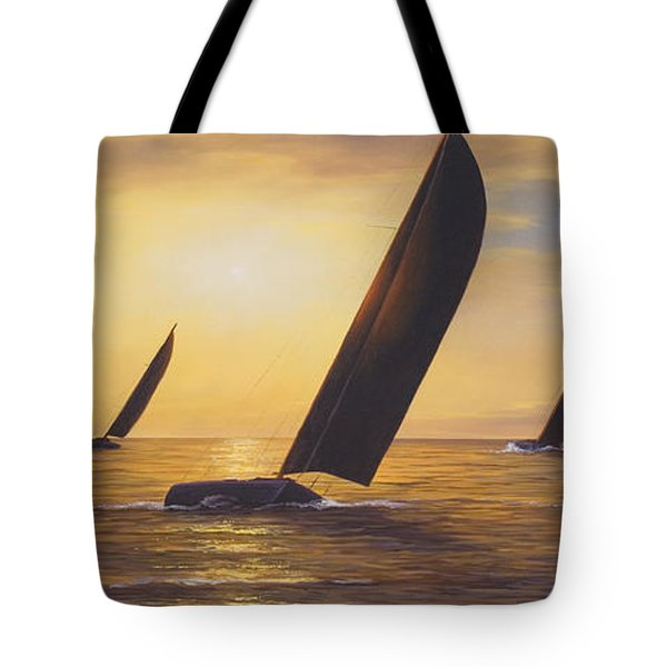 Into The Sunset - Panoramic  Tote Bag by Diane Romanello