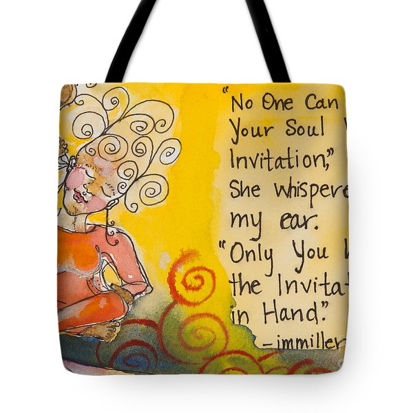Invitation In Hand Tote Bag by Ilisa Millermoon