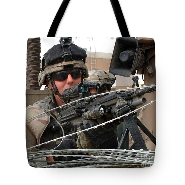 Iraqi And U.s. Soldiers Patrol The Al Tote Bag by Stocktrek Images