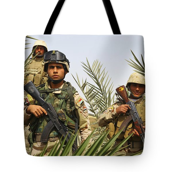 Iraqi Soldiers Conduct A Foot Patrol Tote Bag by Stocktrek Images