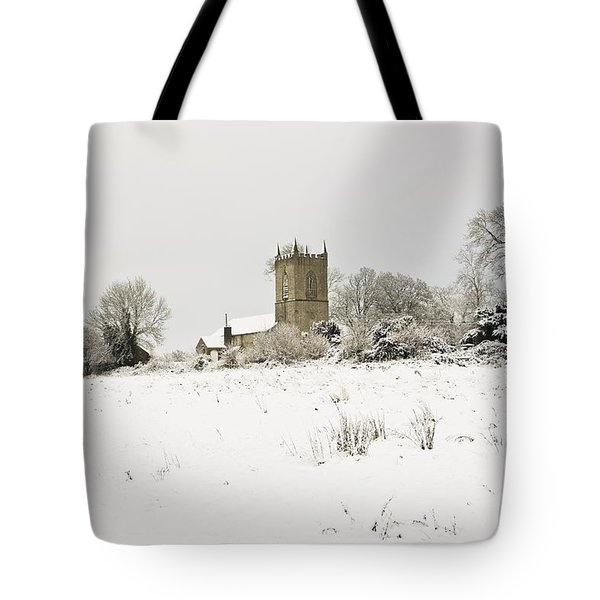 Ireland Winter Landscape With Church Tote Bag by Peter McCabe