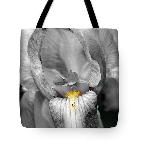 Tote Bag featuring the photograph Iris - Bw by Larry Carr